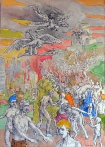 Aqua Scene mythologique non-identifié ou La Fuite, 80 x 60 cm