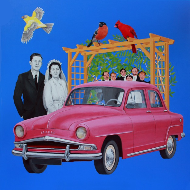 mes parents se marient - acrylique sur toile 120x120