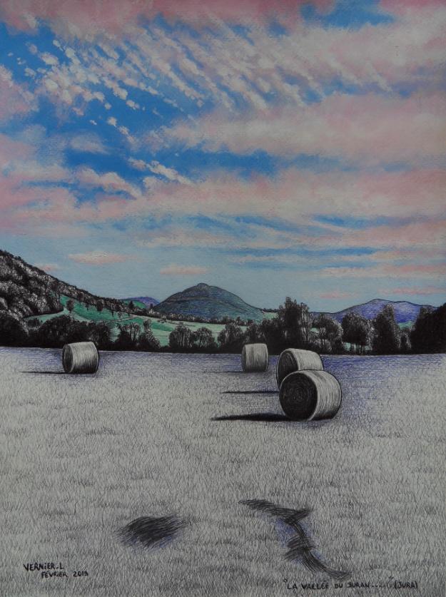 La vallée du Suran depuis le Fond de la Roche (Jura) 41 x 31 cm 2019 Laurent Vernier